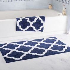 Bring life to your bathroom with the premium 100% Cotton 2 Piece Trellis Bathroom Rug Set. The Trellis pattern brings a European regal look right to your bathroom. A transparent anti-skid spray latex backing is added for keeping rugs safely in place. These super absorbent 100% cotton rugs are machine washable. Extremely plush with cut loop velour finish, this bath mat set feels as luxurious as it looks.