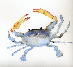 Blue Crab Original Watercolor Painting by h20Colors on Etsy, $50.00