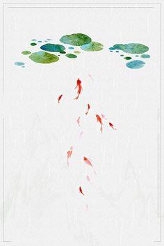 シンプルで新鮮な小さな夏のポスターの背景の大きな画像 単純な 新鮮な 小さな暑さ バックグラウンド テクスチャ 蓮の葉 金魚 行 伝統的なソーラー用語 夏 点線 雨が降っている しあわせ Watercolour, Abstract, Simple, Artwork, Summer, Backgrounds, Drawings, Pen And Wash, Summary