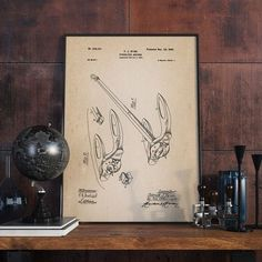 Anchor Patent Art Anchor Patent Gift for Fisherman by dalumna