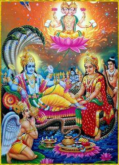 Vishnu, Lakshmi, Brahma, Garuda and AathiSesha