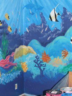 movie room ideas Ocean Theme bedroom mural under the sea Byn Always Sea Murals, Ocean Mural, Wall Murals, Ocean Room, Ocean Nursery, Bedroom Murals, Bedroom Themes, Sea Bedrooms, Underwater Room