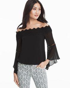Off-The-Shoulder Crochet Trim Black Blouse