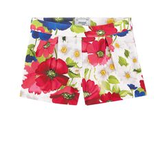 Cotton piqué Light item Without lining Short cut Box pleats on the front Adjustable waistband with an inner buttoned elastic strap  Invisible zipper on the side Flower print - 28,00 €