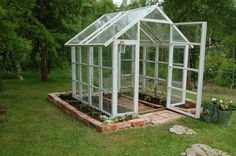 This is a nice greenhouse, too. Greenhouse Shed, Greenhouse Gardening, Lawn And Garden, Home And Garden, Vegetable Garden Design, Garden Cottage, Garden Structures, Outdoor Projects, Yard Landscaping