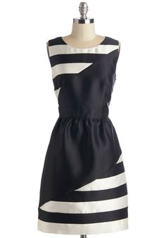 Edgy Chic Dress - Black, White, Stripes, Special Occasion, Party, Cocktail, A-line, Sleeveless, Woven, Better, Mid-length, Press Placement, ...