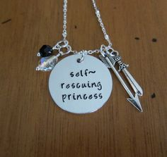 Self-rescuing princess necklace. Empowering necklace. Hand stamped. Fairytale Jewelry. Princess jewelry. Powerful Princess. by WithLoveFromOC - Item:2016-11-13 18:12:41