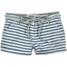Striped cotton piqué shorts. Slant front pockets and slit back pockets. Adjustable waistband with inner buttoned elastic straps. Zip fly with a button on the front. Contrast pocket lining. Stitched turn-ups at the bottom. Detachable braided belt. Embroidered Pepe Jeans on the leg. Machine washable at 30°C. - $ 35