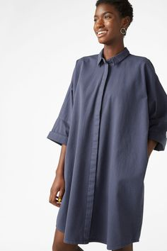 Model front image of Monki denim dress in blue