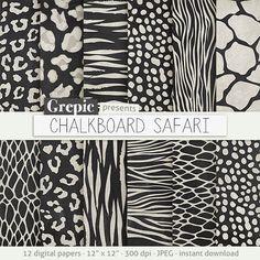 Animal chalkboard: digital paper CHALKBOARD SAFARI
