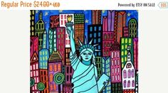 60% Off Today- Statue of Liberty Art New York City Art Poster Print of painting by Heather Galler of Painting (HG853)