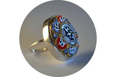 One-Off antique mosaic ring, in sterling silver. by Antique Fusion Jewellery
