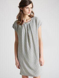 WOMEN'S PRINT CRÊPE SHIFT DRESS ARABESQUE PRINT