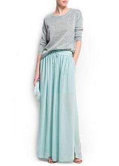 MANGO - PRENDAS - Faldas - Maxi falda gasa aberturas