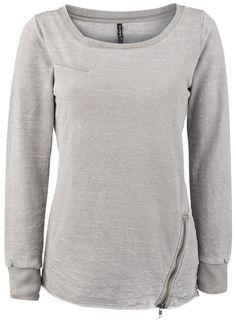 Authentic Style Sublevel - Diagonal Zipper Girl-Sweat-Shirt grau: Amazon.de: Bekleidung