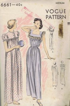 "Vintage Nightgown 50s Sewing Pattern 6661 Vogue Sz 14 Bust 32 34 Hip 35 37"" Cut 