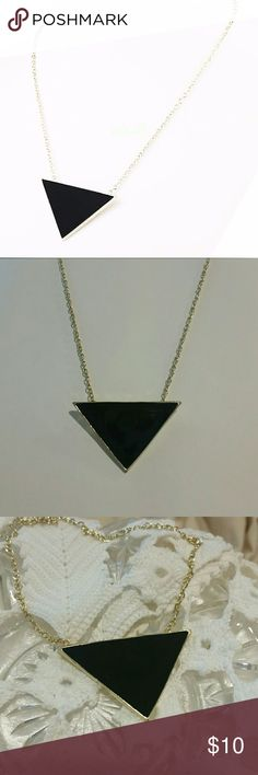 "Unique Black Enamel triangle necklace Brand new 12.5"" long Jewelry Necklaces"