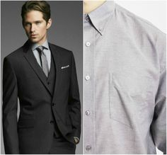 Black Suit Grey Shirt Combination
