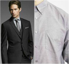 black suit grey shirt combination