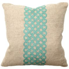 Link Turquoise Embroidered Pillows #HomeDecor @LaylaGrayce $138