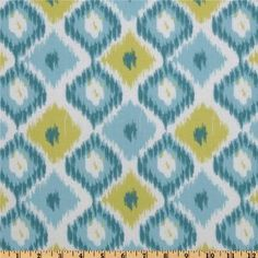 44'' Wide Annette Tatum Bohemian Ikat Diamond Teal Fabric By The Yard