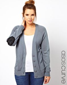 Enlarge ASOS CURVE Exclusive Cardigan With Lace Elbow Patch