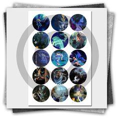 Fantasy Fairies Printable Bottle Cap Images Collage Sheet