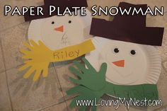 Paper Plate Handprint Snowman - These will be perfect for a January Bulletin Board!