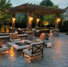 Dream Backyard courtesy of furniture from Patio World of Bend Oregon. Love the pergola and the fire pit on the paver patio! Design Patio, Lounge Design, Backyard Patio Designs, Outdoor Kitchen Design, Backyard Landscaping, Landscaping Ideas, Pergola Designs, Pergola Ideas, Firepit Design