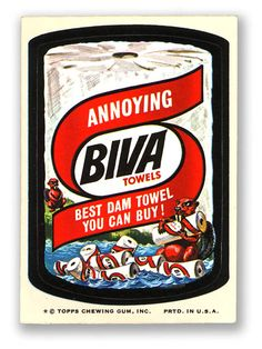 Topps Wacky Packages  8th Series 1974 BIVA PAPER TOWELS