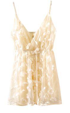Beige V-neck Rosette Flowers Chiffon Straps Vest