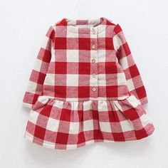 Baby dress inspiration. Large Gingham Winter Dress by Color Me Whimsey. No longer available. #babyfashion