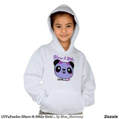 LUV4Pandas SHare-A-SMile Girls' Hoodie zazzle.com/bliss_harmony