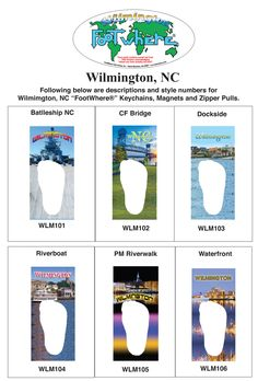 Wilmington, NC FootWhere® Souvenir Zipper-Pull. 72 pieces/6 assorted styles.
