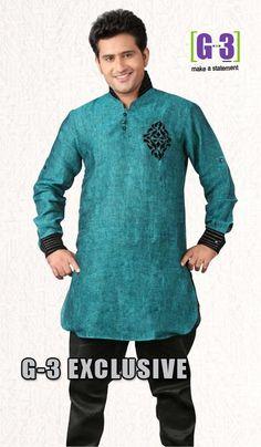 G3 Fashions Green Linen Short Pathani Kurta  Product Code : G3-MSP1029 Price : INR RS 2775