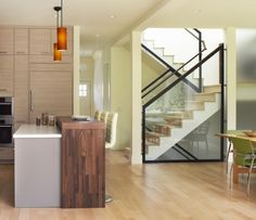 Zero Energy House - modern - kitchen - san francisco - by Levy Art & Architecture Glass Stairs, Glass Walls, Beautiful Stairs, Beautiful Things, Modern Staircase, Modern Kitchen Design, Victorian Homes, Architecture Design, House Design