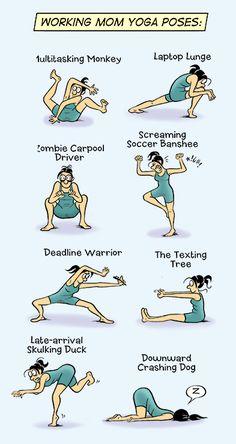 Working mom yoga poses (yoga fun, humour & laughter) .... #yogafun #yogacartoon #yogahumour #yoga #om #yogahumor