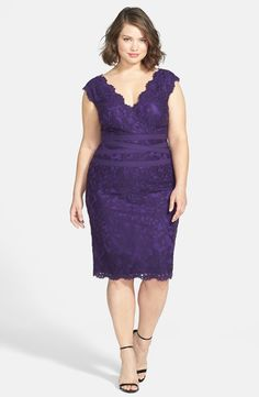 Tadashi Shoji Embroidered Lace Sheath Dress (Plus Size) available at match with leather moto jacket , Smokey eye ,spiked peep toes & a single white rose & white or black nails Plus Size Wedding Dresses With Sleeves, Dresses For Apple Shape, Plus Size Party Dresses, Plus Size Dresses, Plus Size Outfits, Nice Dresses, Awesome Dresses, Gala Dresses, Evening Dresses
