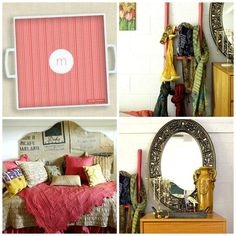 DIY dorm room decorating ideas- painted ladder with a coordinating spill resistant custom tray from ruvacards