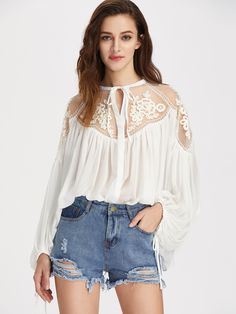 Shop Tie Front Applique Mesh Shoulder Lantern Sleeve Crinkle Top online. SheIn offers Tie Front Applique Mesh Shoulder Lantern Sleeve Crinkle Top & more to fit your fashionable needs.