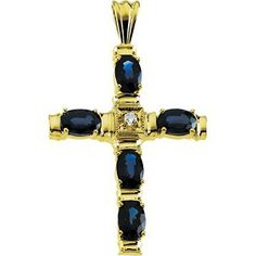 Genuine #IceCarats Designer Jewelry Gift 14K Yellow #Gold #Cross #Pendant W/Sapphire And Diamond 32.50X24.00 Mm   beauty.techreports.us Your #1 Source for Jewelry