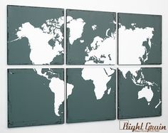 Distressed+World+Map+Painting++Large+Wall+Art+Screen+by+RightGrain,+$175.00