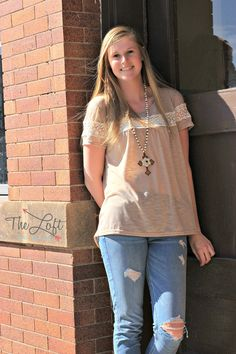 Short Sleeve Top in Latte with Lace...  Shop this look at The Loft in store or online...