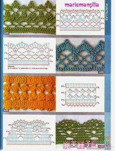 Giáo trình móc cơ bản ( Không spam topic này ) - Page 2 Check out the diagrams and learn to make more than 150 points, (crochet edgings) with images. There are several crochet borders that can be applied in various crochet projects. Crochet Border Patterns, Crochet Lace Edging, Crochet Motifs, Crochet Diagram, Crochet Chart, Filet Crochet, Diy Crochet, Crochet Designs, Crochet Hooks