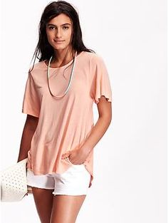 Womens Hi-Lo Flutter-Sleeve Top