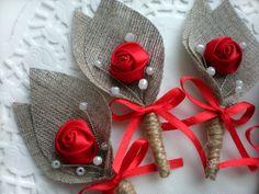 Set of 10 red flower burlap boutonniere buttonhole rustic wedding grooms boutonniere Burlap Flowers, Felt Flowers, Diy Flowers, Fabric Flowers, Paper Flowers, Boutonnieres, Burlap Boutonniere, Burlap Crafts, Diy Crafts