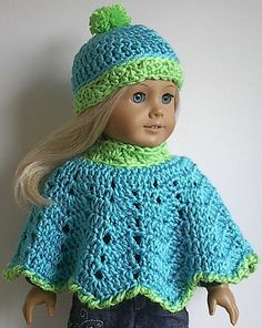 American Girl Doll Clothes - Crocheted Poncho and Hat in Turquoise Blue with Lime Green Trim or You Select Colors