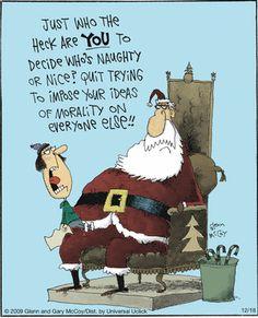 The Flying McCoys by Glenn and Gary McCoy  ~ Christmas Humor ~ Santa Christmas Jokes, Christmas Cartoons, Christmas Fun, Xmas, Christmas Greetings, Cartoon Jokes, Funny Cartoons, Jewish Humor, Retro Christmas Decorations
