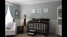 Light grey with pastel yellow (or pink) accents, dark crib and white armoire....