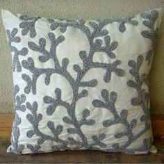 Designer  Silver Pillow Cases Beaded Corals by TheHomeCentric
